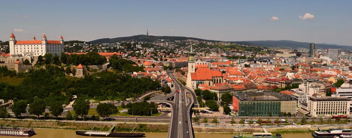 Chasing statues in Bratislava,Slovakia